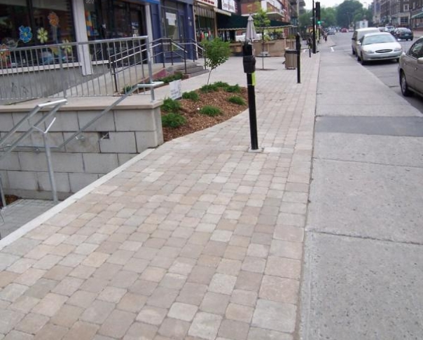 Commercial Front - Permacon Paleo beige. NDG Montreal
