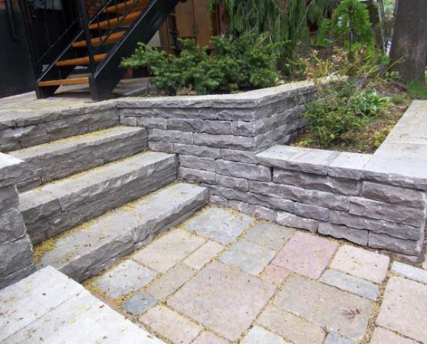 Stone walls and steps - St-Marc cut stone